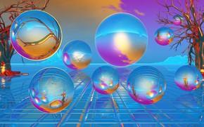 Picture bubbles, balls, blue color