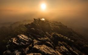 Picture the sun, mountains, fog, stones, rocks, dawn