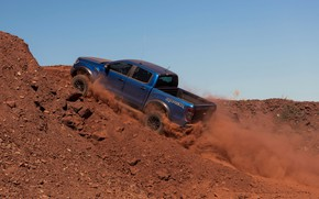 Picture blue, Ford, dust, Raptor, pickup, the rise, 2018, Ranger
