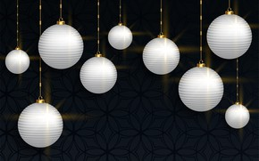 Picture background, holiday, balls, new year, white