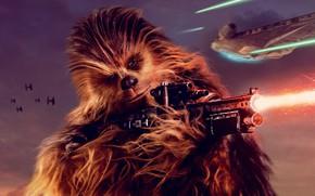Picture Star wars, lightsaber, spaceship, Han Solo, Han Solo, Chewbacca, Chewbacca, Solo: A Star Wars Story