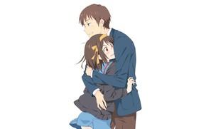 Picture girl, background, guy, hugs, The Melancholy of Haruhi Suzumiya