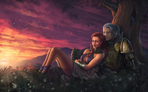 Picture chest, girl, sunset, tree, male, red, Guild Wars 2, art, armor