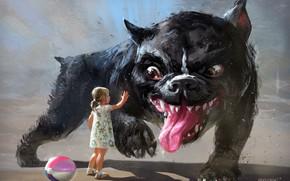 Picture summer, fantasy, the game, art, friendship, girl, trust, dog, children's, Vadim Gousmanov, ball game