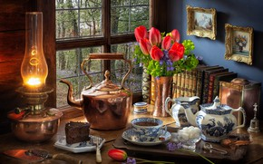 Picture flowers, style, tea, books, lamp, bouquet, kettle, window, the tea party, tulips, pictures, sugar, still …