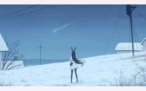 Picture girl, star, home, ears, falling