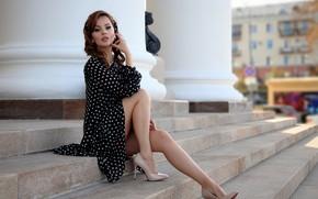 Picture look, girl, pose, photo, model, dress, ladder, heels, beauty, Evgeniy Chufarov