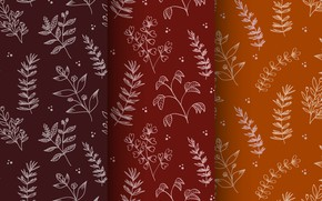 Picture flowers, orange, red, background, pattern, seamless