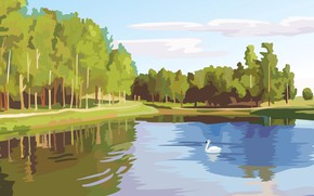 Picture forest, lake, vector, Swan, digital painting