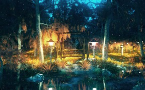 Picture forest, night, pond, swing, lights, by K&P