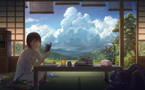 Picture clouds, table, room, books, girl