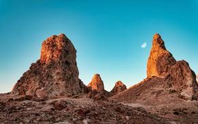Picture the sky, nature, rocks, the moon, desert, CA, USA, Trona pinnacles