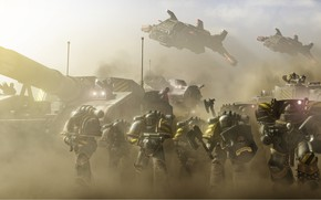 Picture space marines, tank, Warhammer 40 000, Iron Warriors, terminator armor, IV legions