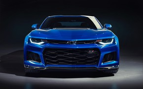 Picture Chevrolet, Blue, Camaro, Black background, ZL1, Front, Front view, 2019