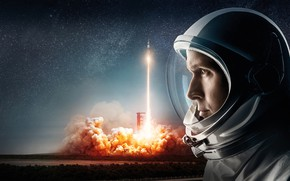 Wallpaper field, the sky, space, background, fire, smoke, stars, rocket, the suit, start, the rise, astronaut, ...
