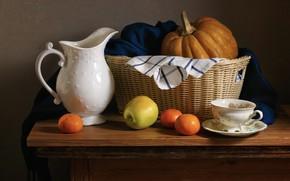 Picture the dark background, Apple, pumpkin, pitcher, still life, basket, items, tangerines