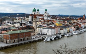 Picture river, Germany, Bayern, panorama, The Danube, Passau, Собор Святого Штефана