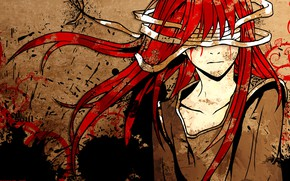 Picture blots, guy, eye patch, bloody tears, bandages, torn clothes, blood spatter, red volossy, red soul