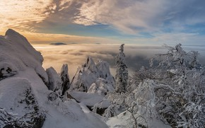 Picture winter, clouds, snow, trees, landscape, mountains, nature, national Park, ridge, Ural, Taganay, Andrey Sharapov