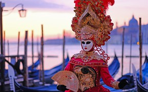 Picture style, mask, fan, Italy, costume, Venice, carnival