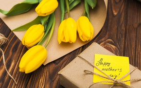 Picture bouquet, gift, Cute, Happy, Spring, The celebration, tulips, Mother's day, wood, yellow
