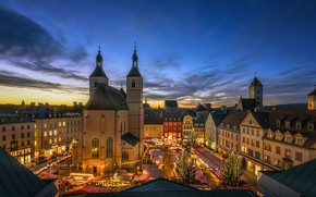 Picture the city, building, home, the evening, Germany, Bayern, area, tower, Regensburg