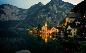 Picture forest, mountains, lights, lake, shore, home, the evening, Austria, Hallstatt