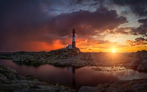 Picture sea, the sky, the sun, clouds, rays, light, landscape, sunset, clouds, reflection, stones, rocks, shore, …