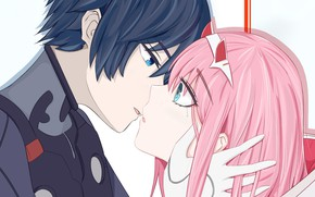 Picture girl, love, kiss, guy, tears, 002, Darling In The Frankxx, Cute in France, Hiro