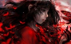 Picture butterfly, blood, the demon, girl