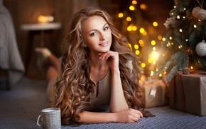 Picture look, girl, pose, hair, tree, bokeh, Olga Boyko