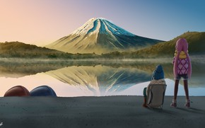 Picture landscape, nature, mountain, camping, girly camping, Laid-Back Camp