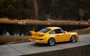 Picture Auto, Yellow, 911, Porsche, Pond, Machine, Porsche 911, Carrera, 1993, Sports car, Porsche 911 Carrera, …