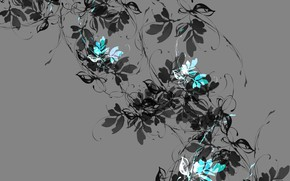 Picture flowers, branch, texture, grey background
