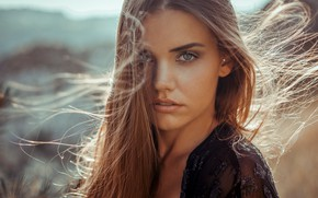 Picture look, girl, the sun, portrait, makeup, hairstyle, brown hair, beautiful, bokeh, Anne Hoffmann, kassio. epia