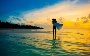Picture sea, girl, sunset, shore, hugs, male, lovers
