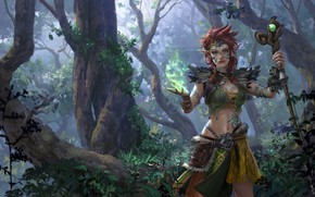 Picture forest, girl, magic, elf, Amazon