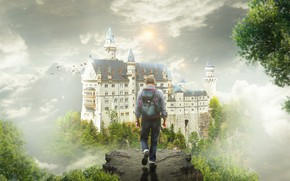 Wallpaper the sky, trees, birds, fog, castle, fantasy, open, sleep, fantasy, male, journey, backpack, traveler, the ...