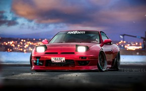Picture Red, Auto, Machine, Nissan, Lights, Illustration, 180SX, The front, Nissan 180SX, Transport & Vehicles, by …