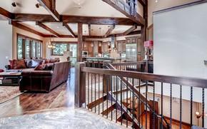 Picture design, style, Villa, interior, kitchen, ladder, living room, Rocky Mountain, Lodge in Breckenridge