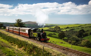 Wallpaper the sky, the sun, clouds, trees, hills, field, England, rails, train, the engine, cars, railroad, ...