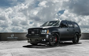 Picture car, machine, the sky, clouds, tuning, Chevrolet, SUV, drives, black, tuning, wheel, matte, Tahoe, Ultimate …