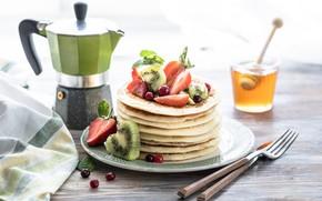 Picture berries, kiwi, honey, pancakes