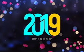 Picture glare, background, figures, New year, bokeh, 2019