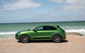 Picture sand, sea, the sky, clouds, shore, Porsche, SUV, Turbo, crossover, Macan, Porsche Macan, 2020, Porsche …