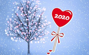 Picture snow, tree, New year, garland, heart, 2020