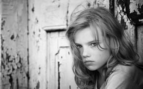 Picture portrait, girl, monochrome, Andrey Vahrushew