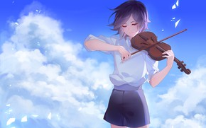 Picture the sky, violin, boy