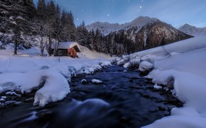 Picture Alps, mountains, Austria, winter, hut, nature, snow, stars, river, forest, house, night, landscape