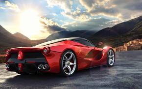 Picture road, the sun, mountains, lights, view, Ferrari, Ferrari, wheel, Ferrari Rear